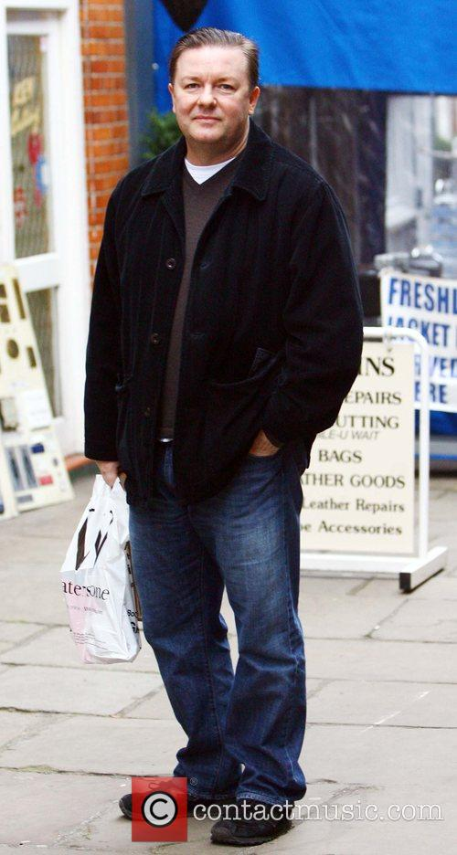 Ricky Gervais doing some last minute Christmas shopping...