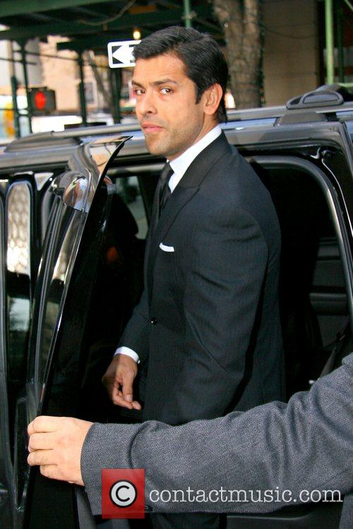 Leaving ABC Studios with his wife