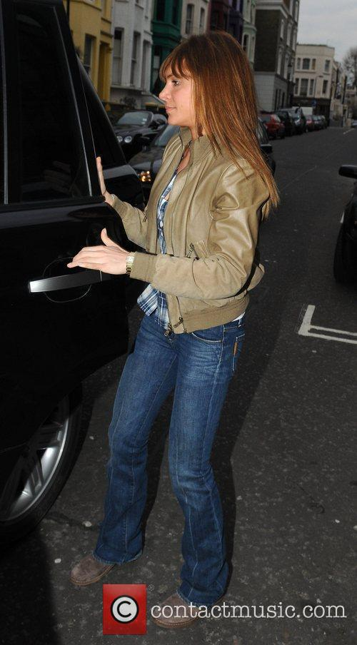 Robbie Williams' girlfriend Ayda Field leaving a recording...