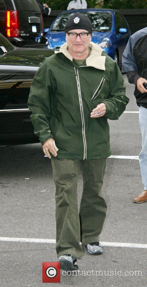 Robin Williams arriving at a hotel in Manhattan....