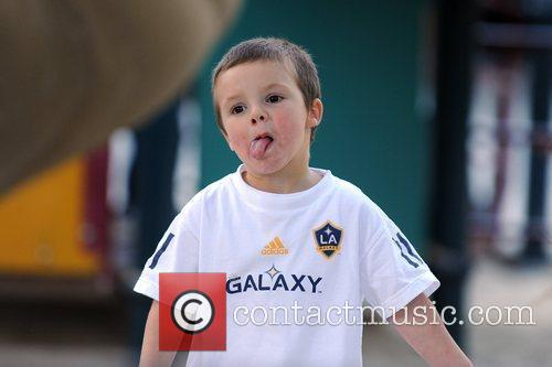 Cruz Beckham  seen pulling faces and having...