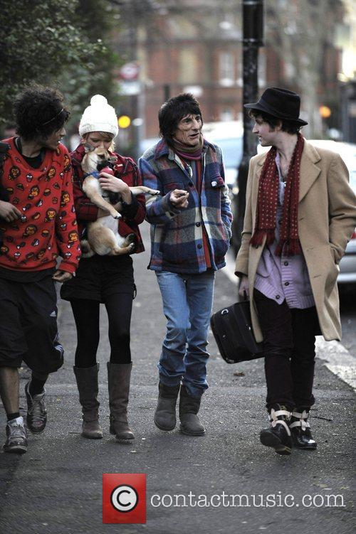 Ronnie Wood and Ekaterina Ivanova Leaving Their House With Their Dog 1
