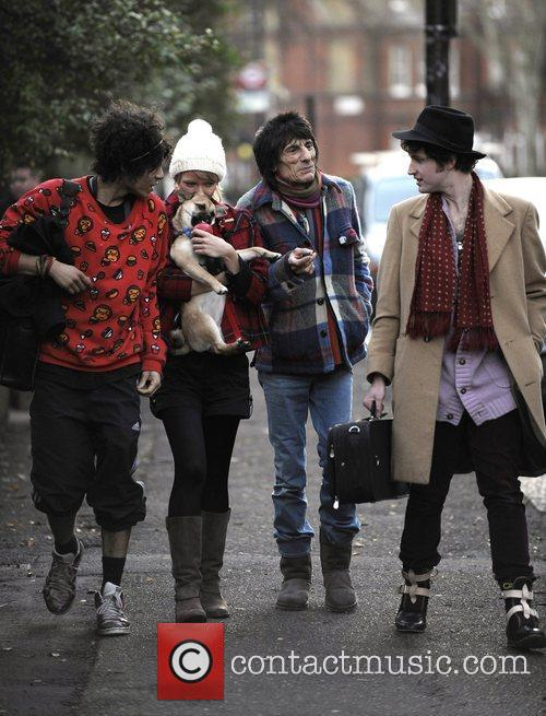 Ronnie Wood and Ekaterina Ivanova Leaving Their House With Their Dog 4