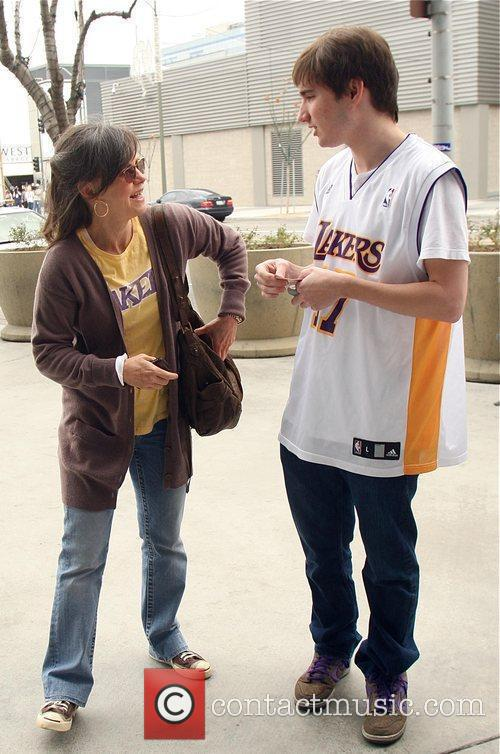 Sally Field, her son Samuel Greisman at a Lakers game at the Staples Center, Staples Center