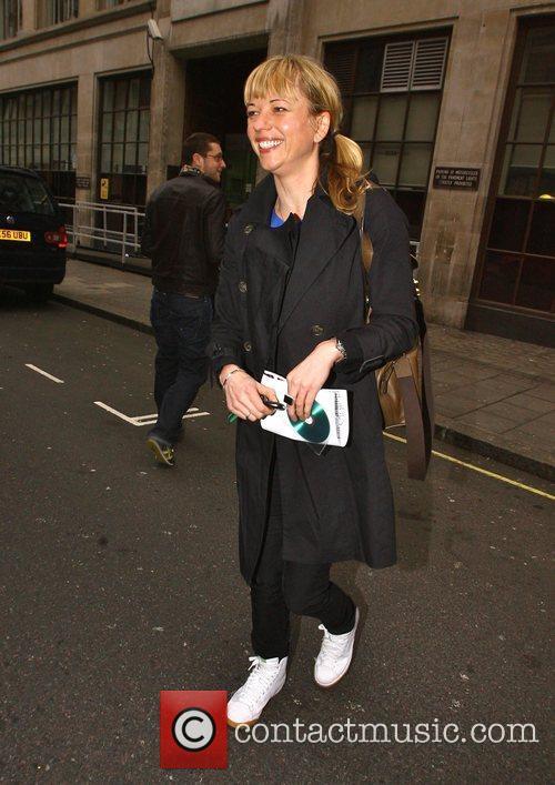 Sara Cox leaves the Radio 1 studios with...