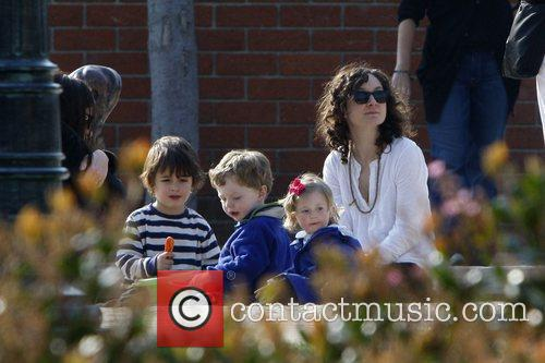 Sara Gilbert with her kids and her partner...