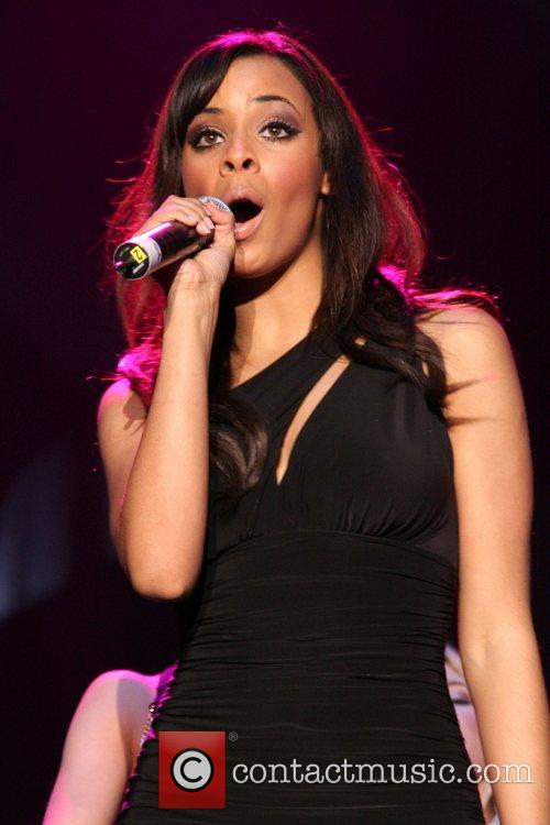 Vanessa White of girlband 'The Saturdays' performing live...