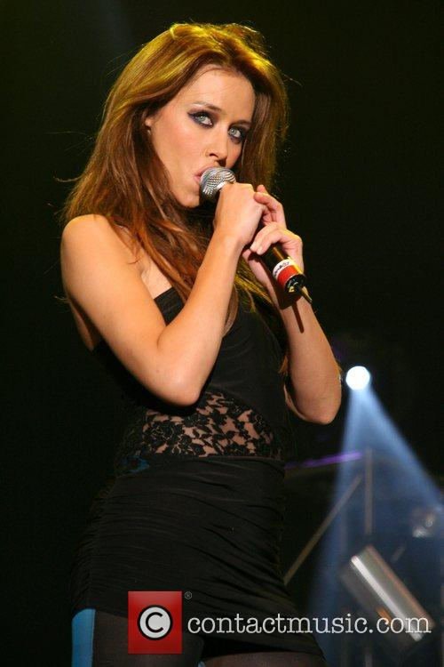 Una Healy of girlband 'The Saturdays' performing live...