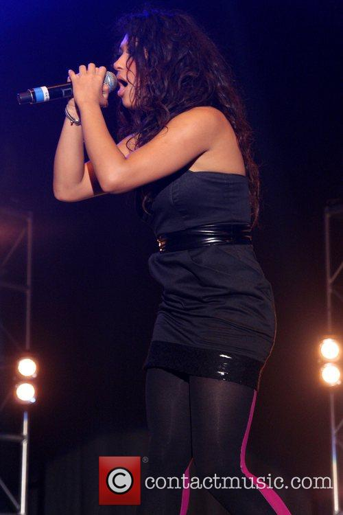 Rochelle Wiseman of girlband 'The Saturdays' performing live...