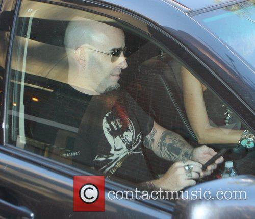 Scott Ian, Rhythm Guitarist For The Metal Band Anthrax and Checks His Iphone While Driven Around Beverly Hills 2