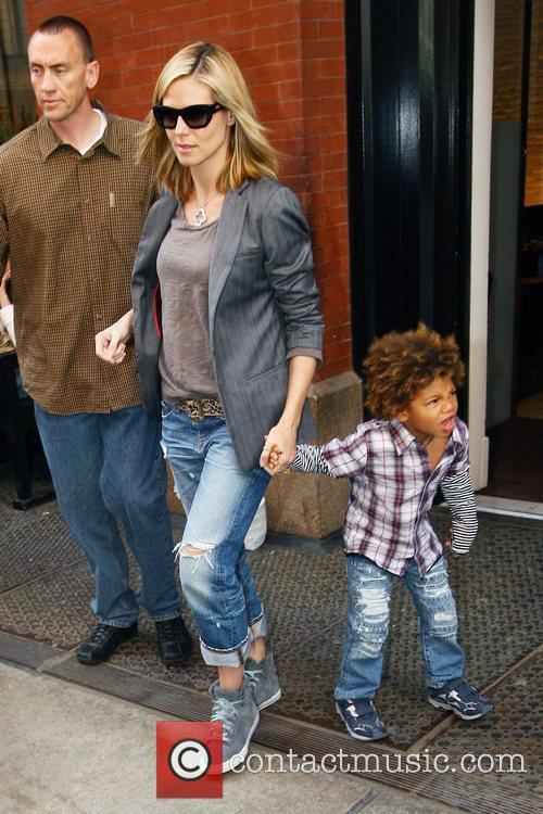 Heidi Klum, her son Henry Samuel, Manhattan Hotel