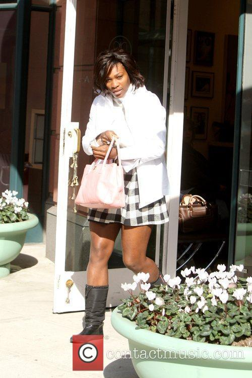 Serena Williams outside Anastasia Salon while out and...