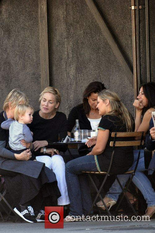 Sharon Stone and her girl friends have lunch...