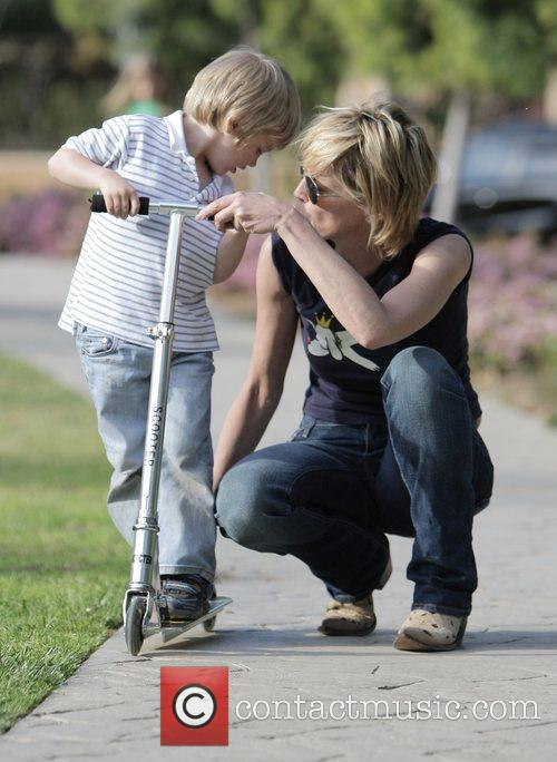 Sharon Stone takes her son to Coldwater Canyon...