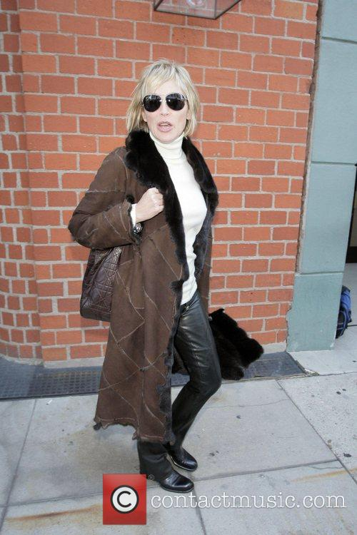 Sharon Stone  exits Mr. Chow after eating...