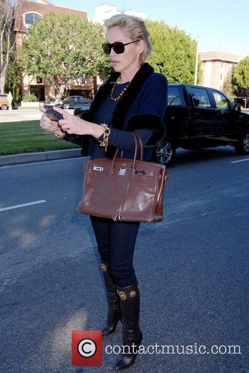 Sharon Stone runs errands in Beverly Hills while...