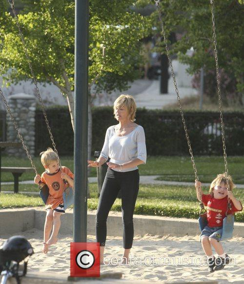 Sharon Stone takes her sons Roan and Quinn...