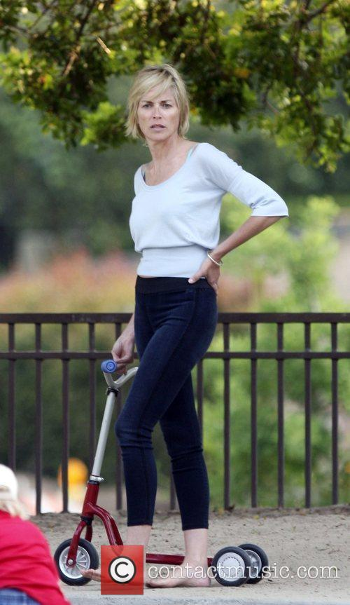 Sharon Stone takes her sons to Coldwater Canyon...