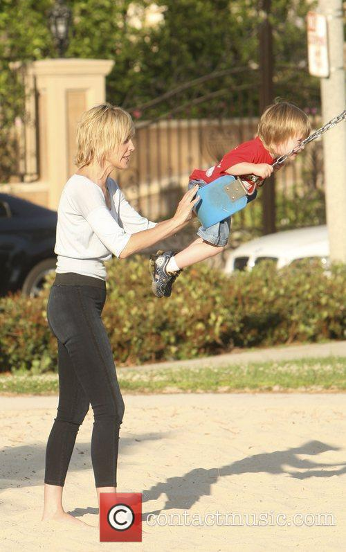 Sharon Stone takes her son Quinn to Coldwater...