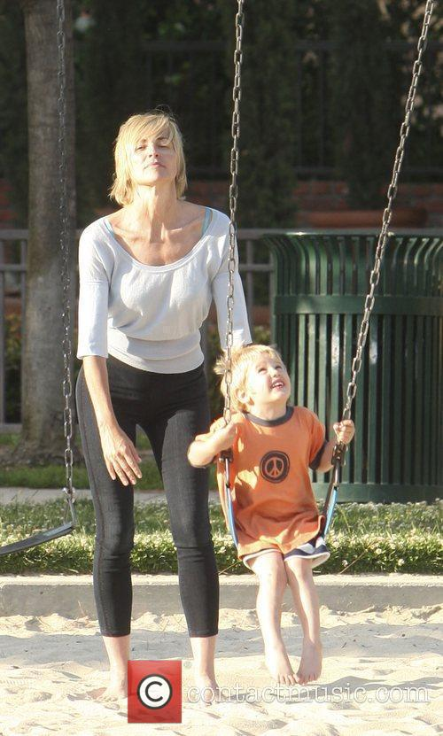 Sharon Stone takes her son Roan to Coldwater...