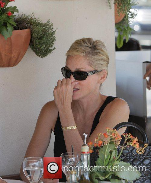 Sharon Stone  eats lunch with friends at...