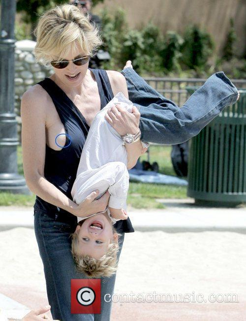 Sharon Stone exposes a bit of her nipple...