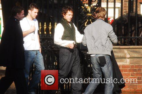 On the set for 'Sherlock Holmes'