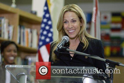 Sheryl Crow speaking to students at Woodrow Wilson...