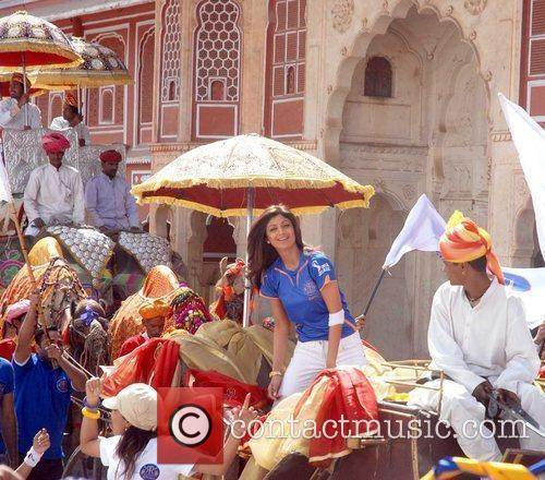 Bollywood actress Shilpa Shetty during a shoot for...