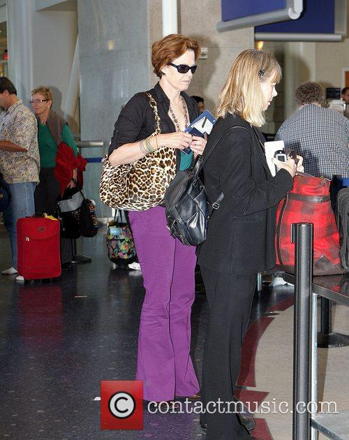 Sigourney Weaver, One Day Before Her 59th Birthday and Arrives At Lax Airport For A Flight To New York 11