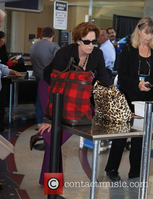 Sigourney Weaver, One Day Before Her 59th Birthday and Arrives At Lax Airport For A Flight To New York 1