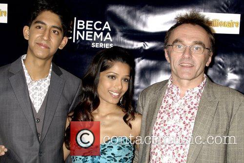 Dev Patel, Freida Pinto and Danny Boyle screening...