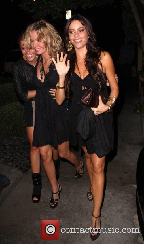 Sophia Vergara leaving Ago restaurant with friends...