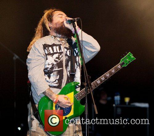 Max Cavalera of Soulfly performing live on stage...