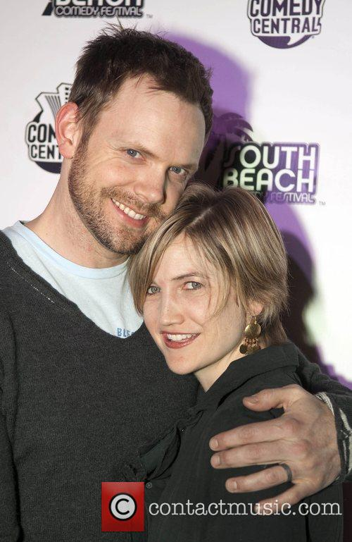Comedian Joel McHale and girlfriend Sarah McHale...