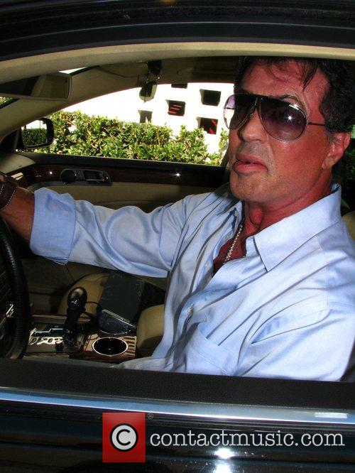 Sylvester Stallone in his car in Beverly Hills