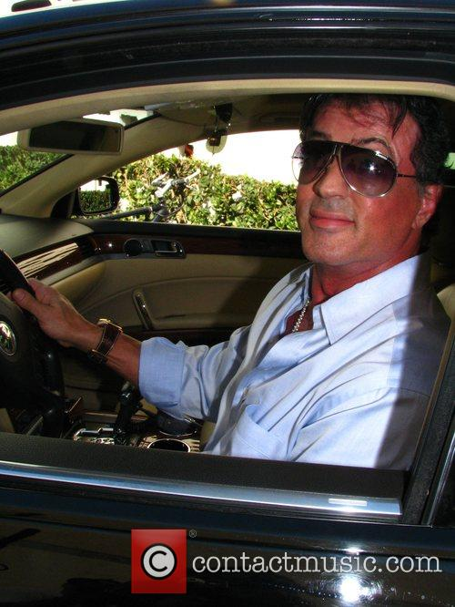 Sylvester Stallone in his car in Beverly Hills...