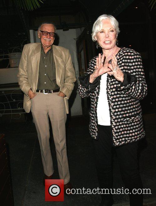 Stan Lee and Joan Clayton Lee leaving Madeos...