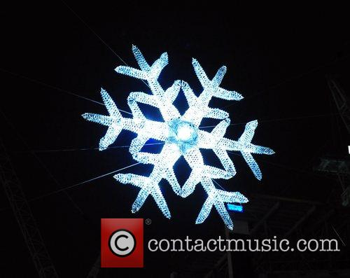 The Swarovski Crystal Snowflake is switched on at...