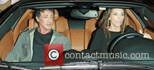 Sylvester Stallone and Jennifer Flavin leaving Koi restaurant...