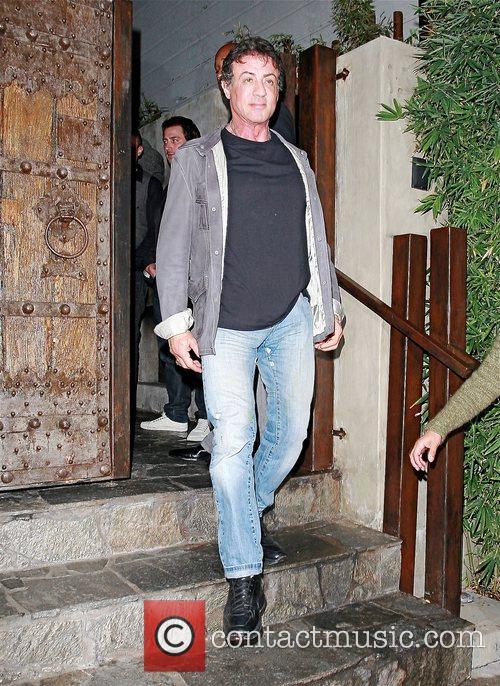 Sylvester Stallone leaving Koi restaurant after having dinner...