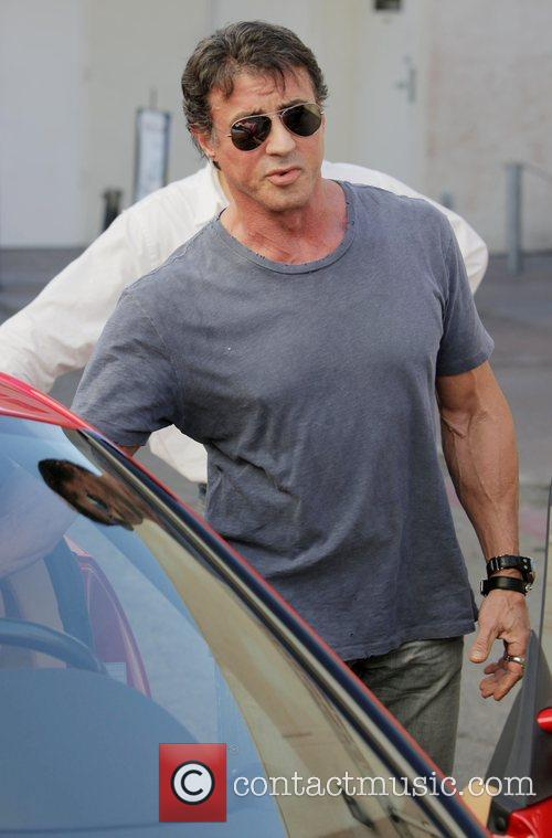 Sylvester Stallone and friends have lunch at Cafe...