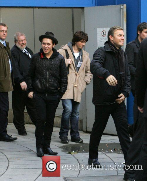 Mark Owen and Gary Barlow Leaving The Bbc Radio 2 Building 3