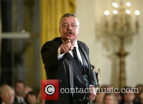 President Theodore Roosevelt character actor speaks at a...