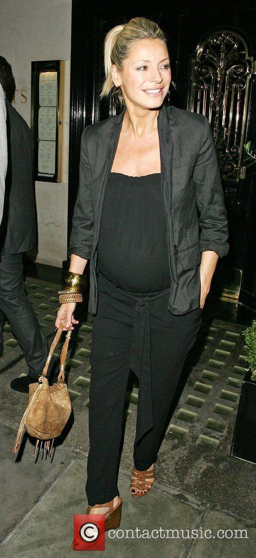 Pregnant Tess Daly leaving Scott's restaurant after celebrating...