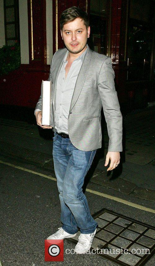 Presenter Brian Dowling, leaving Scott's restaurant London, England