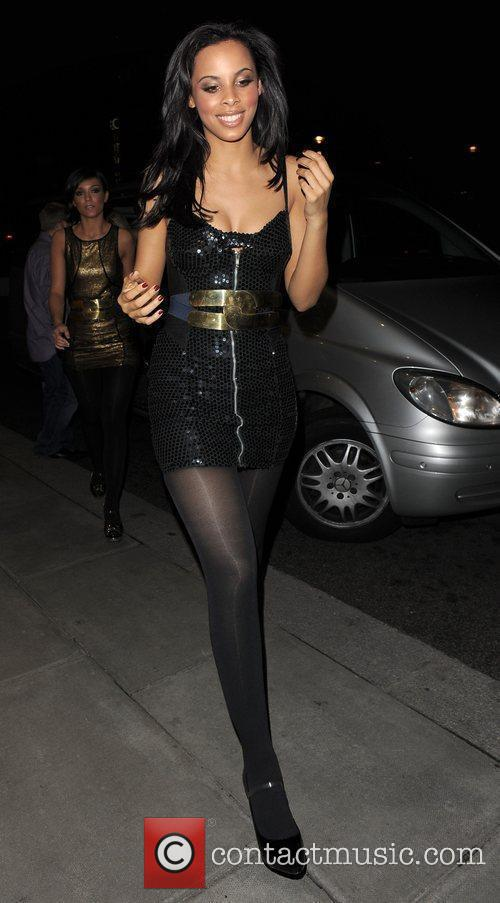 Rochelle Wiseman from pop group The Saturdays leaving...