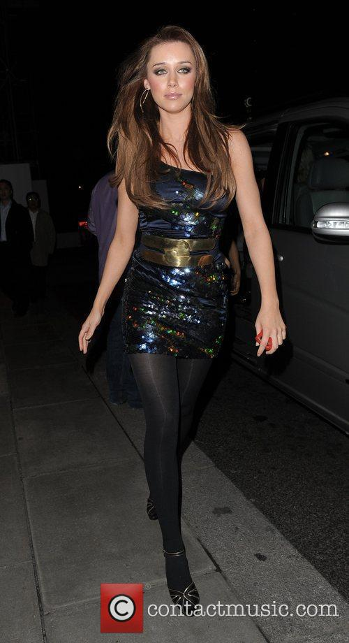 Una Healey from pop group The Saturdays leaving...
