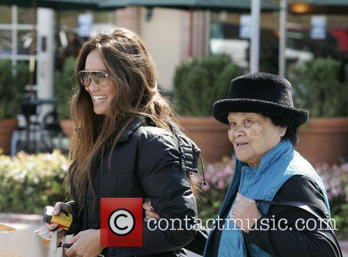 Tia Carrera shopping with her grandmother at the...