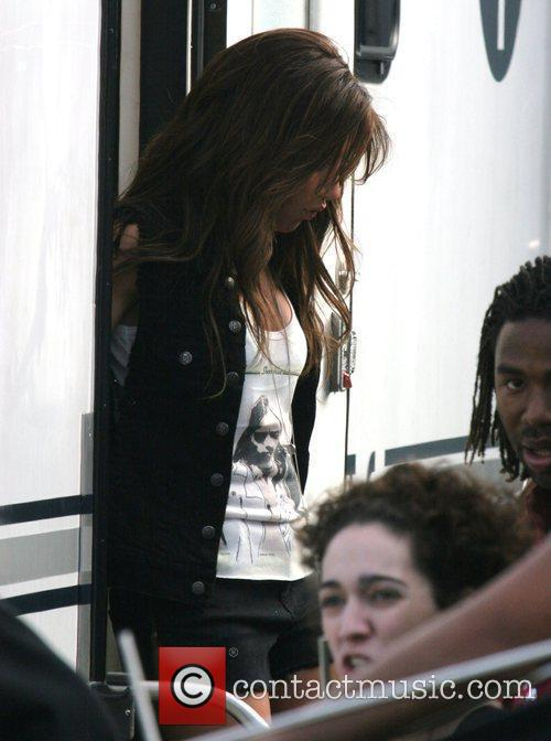 Ashley Tisdale on the set of a video...